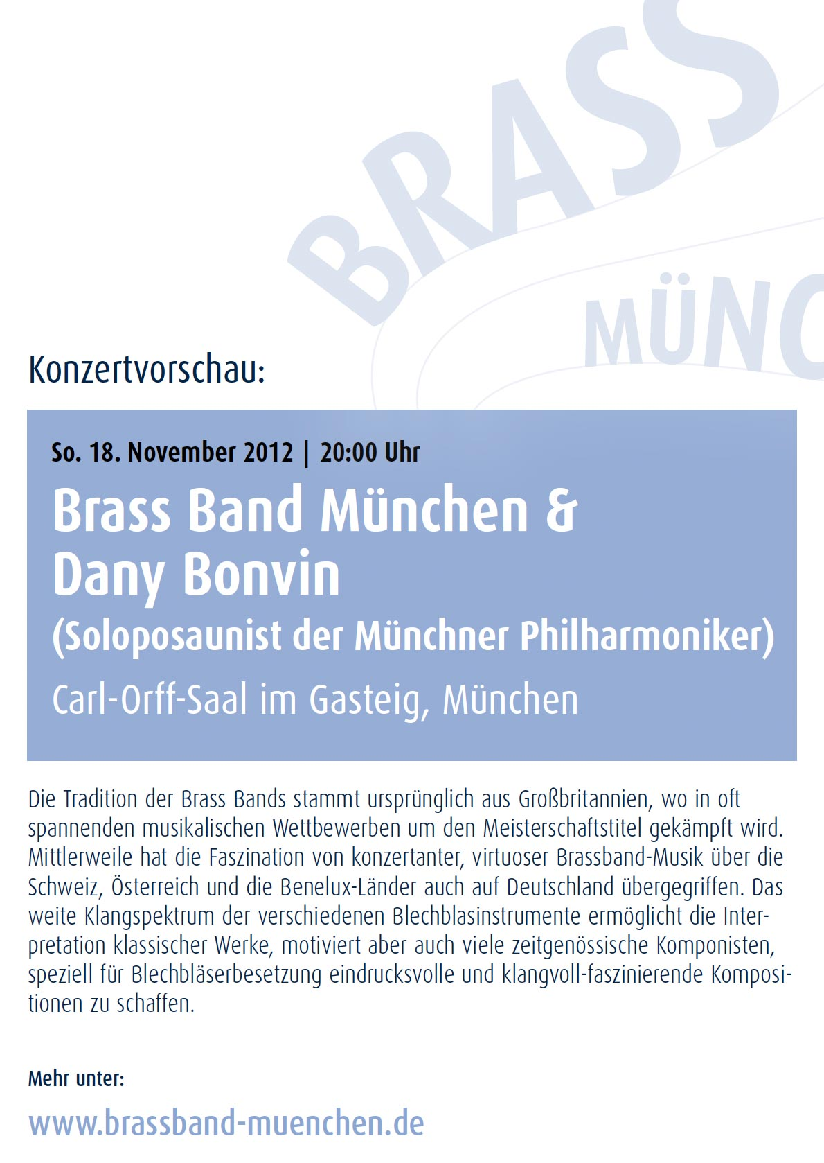 Brass Band München: Konzertplakat Gabriela Pechmannová