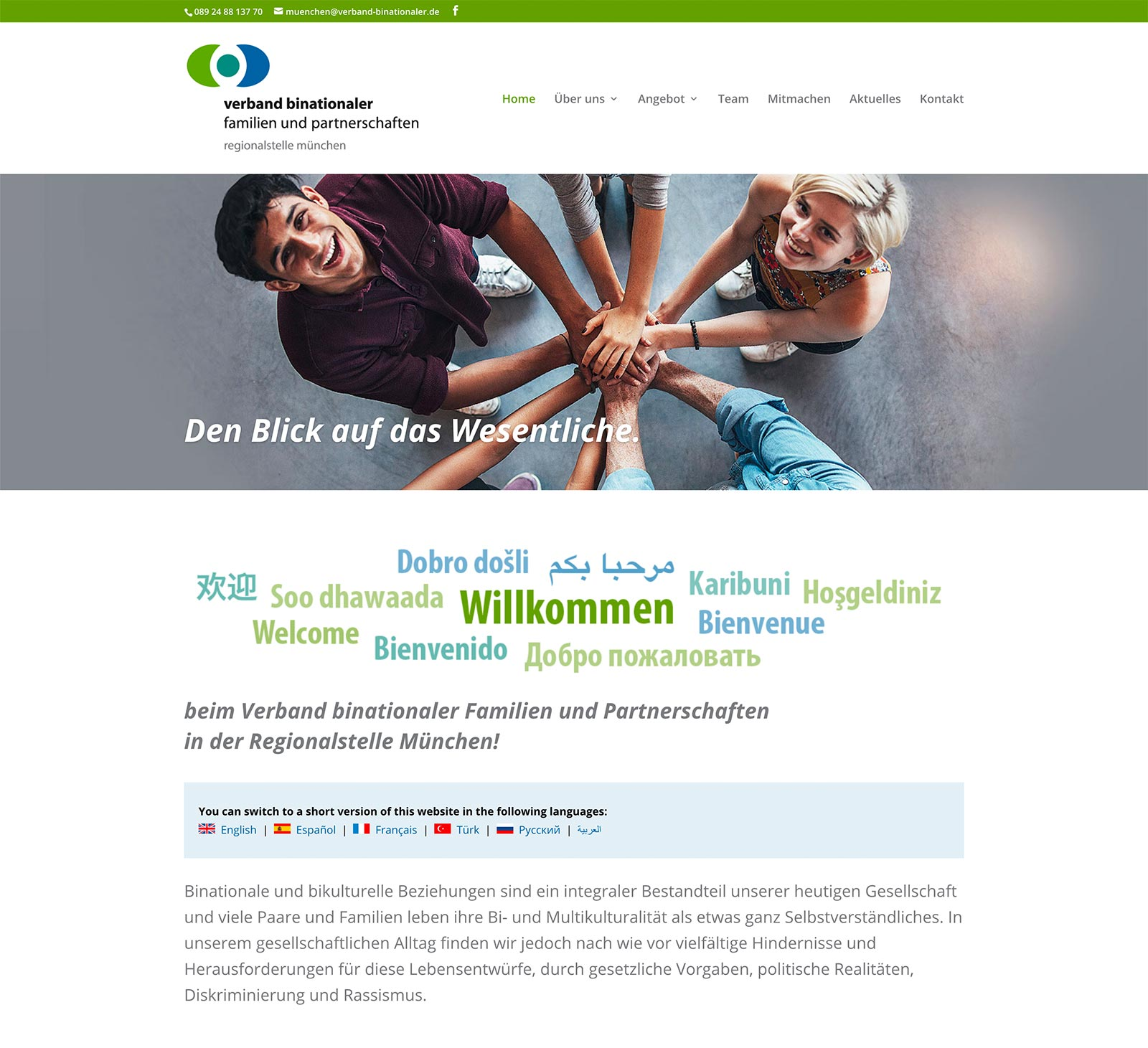 Verband binationaler Familien und Partnerschaften: Website